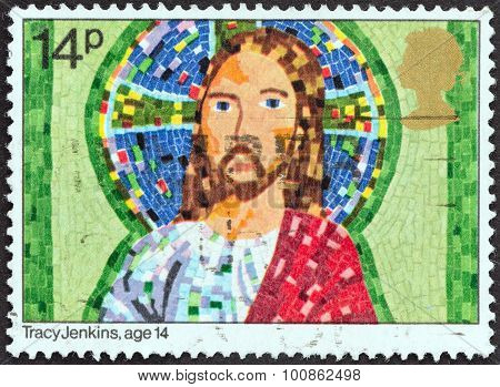 UNITED KINGDOM - CIRCA 1981: A stamp printed in United Kingdom shows Jesus Christ by Tracy Jenkins