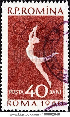 ROMANIA - CIRCA 1960: A stamp printed in Romania shows Gymnastics