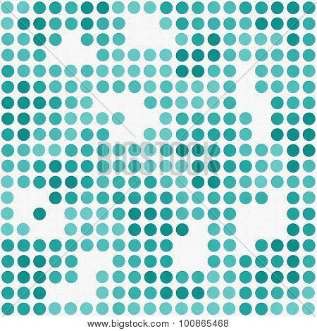 Teal And White Polka Dot Mosaic Abstract Design Tile Pattern Repeat Background