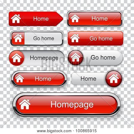 Home red design elements for website or app. Vector eps10.