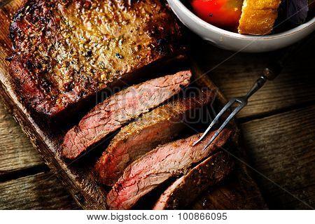 Flank Steak  With Tomato Salad.