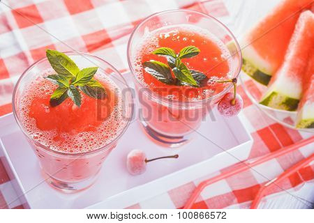 Watermelon smoothie in a white box