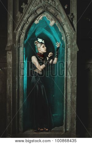 Gothic Girl Standing In The Castle.