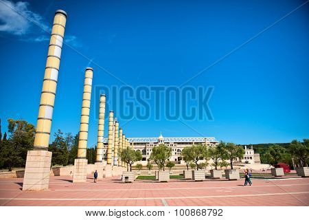 BARCELONA, SPAIN - MAY 02: Montjuic Olympic park in Barcelona. Barcelona held the 1992 Summer Olympic Games. May 02, 2015.