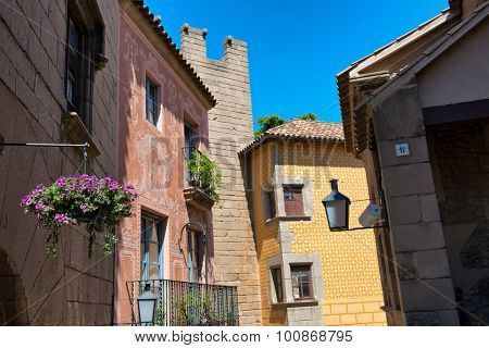 BARCELONA, SPAIN - MAY 02: Architectural Detail of Colorful Building Facades in Historical Poble Espanyol Museum Area, Barcelona, Spain. May 02, 2015.