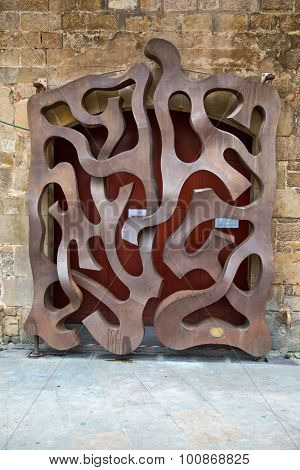 BARCELONA, SPAIN - MAY 02: Architectural Detail of Door Gateway Designed by Josef Paladina, Museu Diocesa, Barcelona, Spain. May 02, 2015.