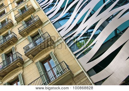 BARCELONA, SPAIN - MAY 02: Tilted Architectural Detail View of Old and New Neighboring Buildings Located on Passeig de Gracia, Barcelona, Spain. May 02, 2015.