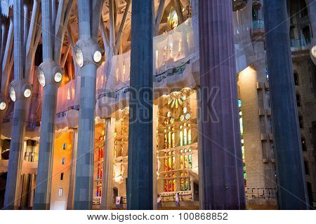 BARCELONA, SPAIN - MAY 02: Architectural Interior Detail of Pillars and Stained Glass Inside Sagrada Familia Church, Designed by Antoni Gaudi, Barcelona, Spain. May 02, 2015.