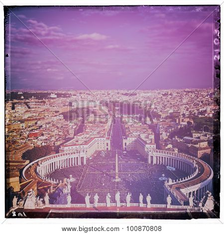 Panoramic View Of City Of Rome And St. Peter's Square From Top Of The Dome Of The Basilica Of St. Pe