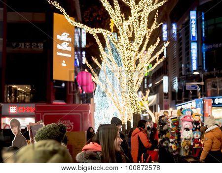 People Walk Around Shopping Street  In New Year