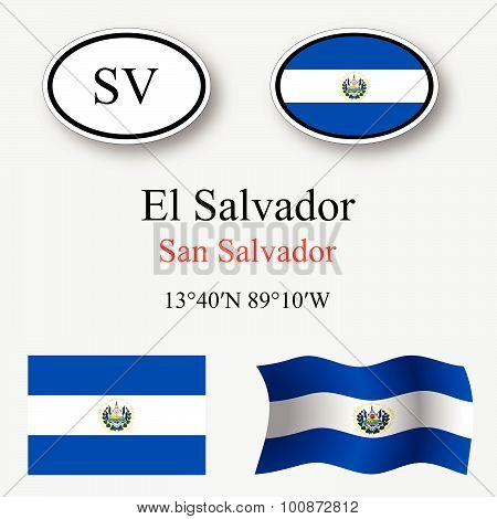 El Salvador Icons Set