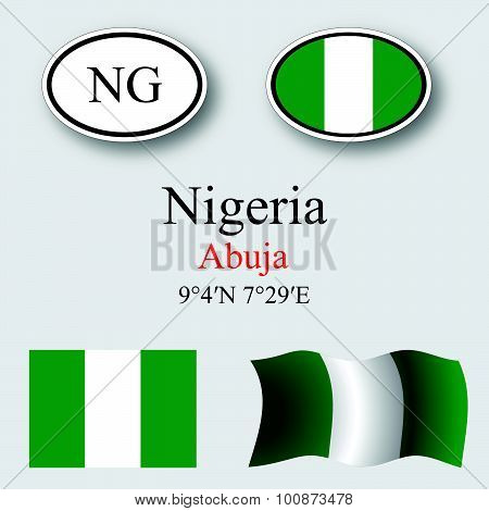 Nigeria Icons Set