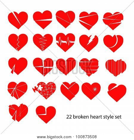 Illustration Vector Set Of Red Broken Heart Siolated
