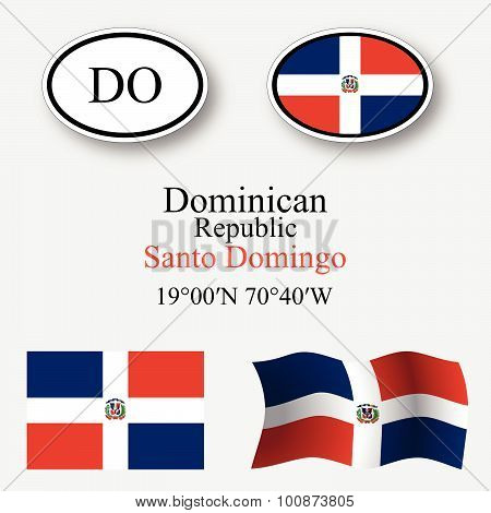 Dominican Republic Icons Set