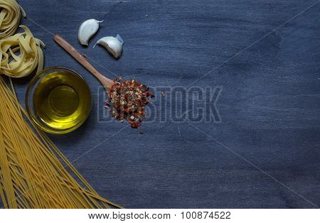 Pasta With Olive Oil And Condiment