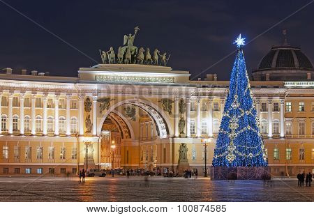 Saint-Petersburg. Russia. Christmas Tree on the Palace Square