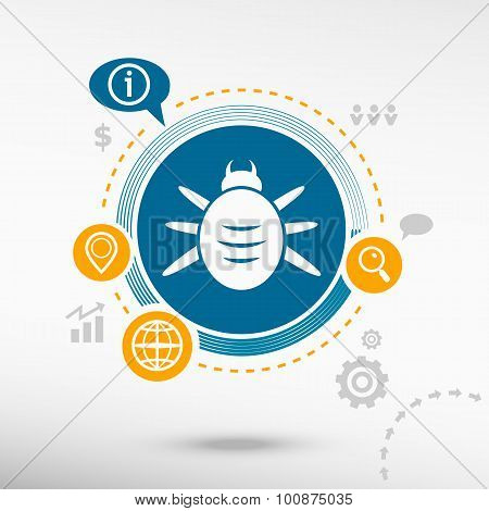 Bug Icon And Creative Design Elements