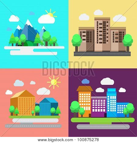 Colorful set of urban and rural landscapes. Creative flat design of nature and cities.