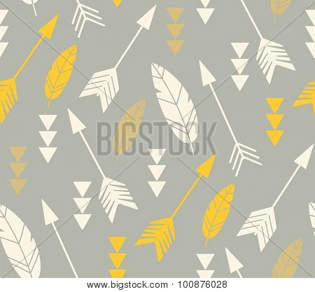Bohemian Feathers And Arrows, Seamless Pattern