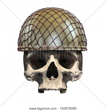 Skull with retro military helmet ( paratrooper's helmet) on a white background. Soldier killed in action.