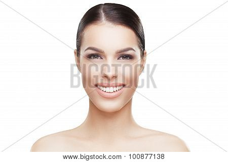 Beautiful Face Of Young Woman With Clean Skin And Toothy Smile