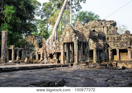 Preah Khan, part of Khmer Angkor temple complex, popular among tourists ancient landmark and place of worship in Southeast Asia. Siem Reap, Cambodia.
