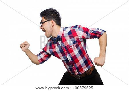 Young man in plaid shirt isolated on white