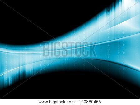 Blue tech wavy background with binary system code. Vector dark design