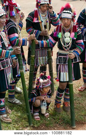 Dancer waiting Hill Tribe Dancing In Akha Swing Festival.