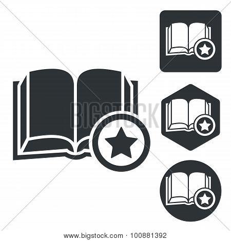 Favorite book icon set, monochrome