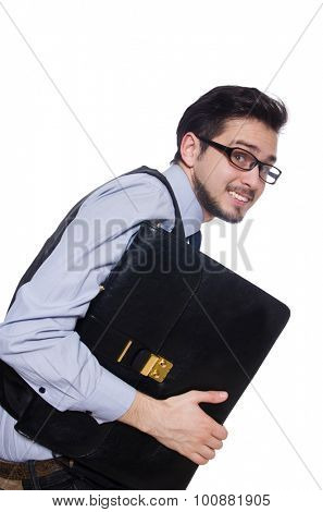 Funny businessman with briefcase isolated on white