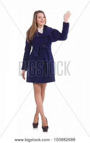 Woman in blue coat isolated on white