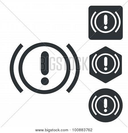 Alert sign icon set, monochrome