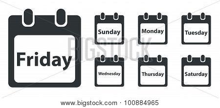 Week day icon set, monochrome