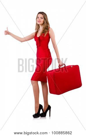 Hitchhiker woman in red dress with suitcase isolated on white