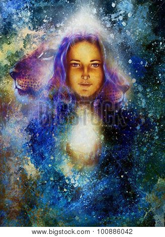 woman goddess holding a sourceful of a white light and Little lion cub head. abstract  color backgro