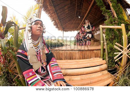Young girl waiting Hill Tribe Dancing In Akha Swing Festival.