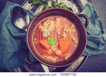 Vintage Photo Of Fresh Tomato Soup With Pasta