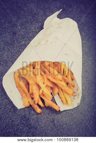 Vintage Photo Of Potatoes Fries In Little White Paper Bag
