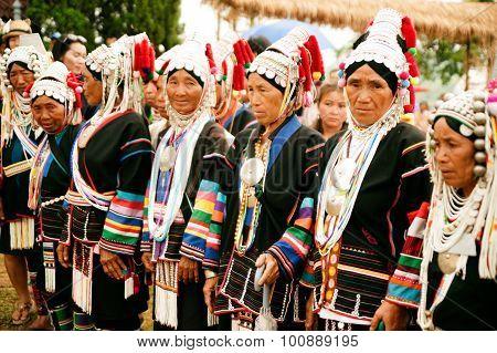 Row Of Senior Akha Hill Tribe.