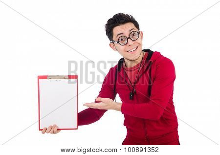 Funny instructor with whistle and diary isolated on white