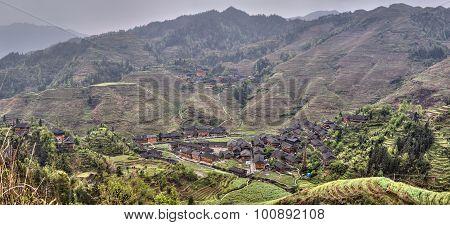 Ethnic Minorities Yao Village Dazhai, Longsheng, Guangxi, China, Rice Fields.