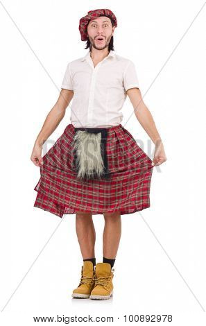 Surprised scotsman isolated on white