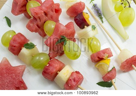 Fruit Kebab. Fruit Salad Uniquely Arranged Like Kebab.