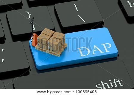Dap Deliwery Concept On Blue Keyboard Button