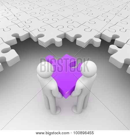Two persons holding purple puzzle surrounded by white puzzles