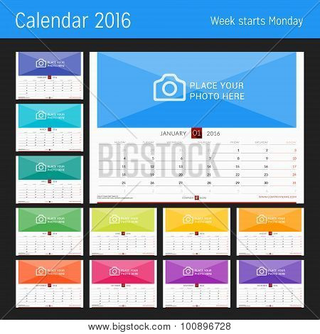 Wall Monthly Calendar For 2016 Year. Vector Design Print Template. Week Starts Monday. Landscape Ori