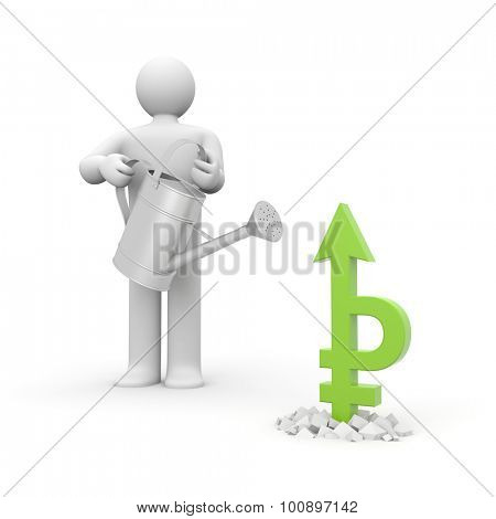 Man watering sign of the ruble