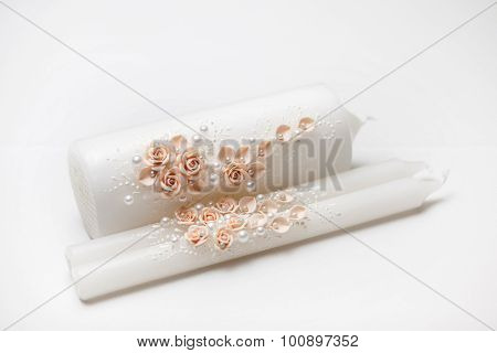 Wedding candlestick with flower decoration before wedding ceremony