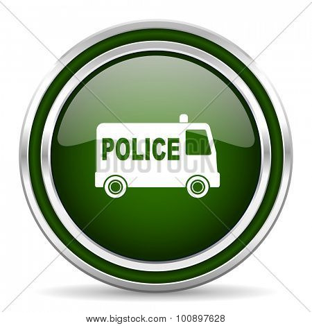 police green glossy web icon modern design with double metallic silver border on white background with shadow for web and mobile app round internet original button for business usage